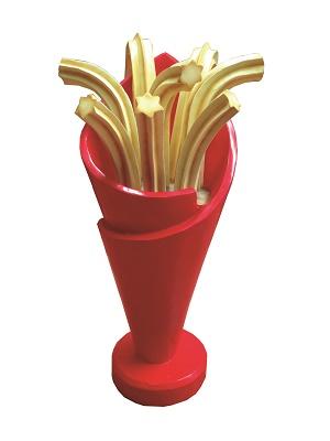 Cucurucho de churros en resina de 75 cm. Color rojo.