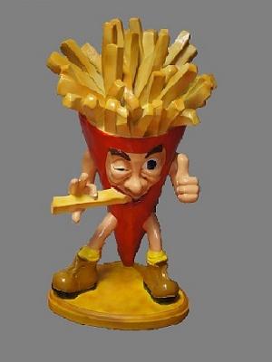 Cucurucho de patatas humorístico en resina de 75 cm. Color rojo.