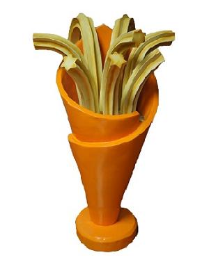 Cucurucho de churros en resina de 75 cm. Color naranja.